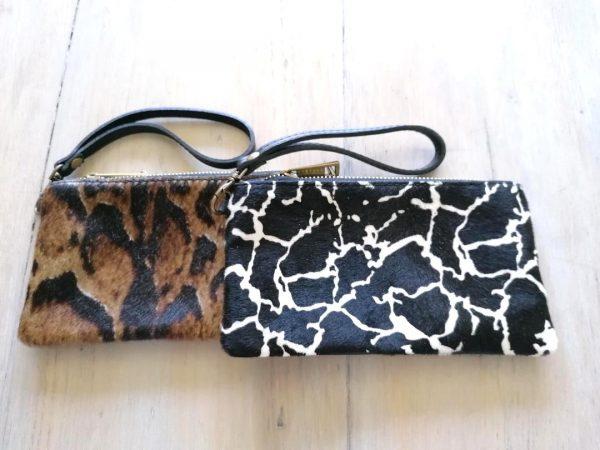 Black & White Animal Print Clutch Bag