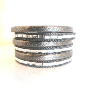 6 Strand Grey & Square Crystal Bracelet