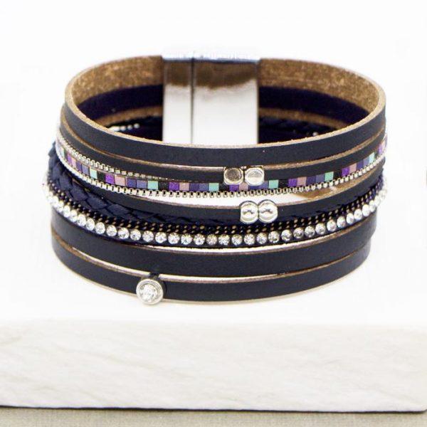 Blue Multistrand PU Bracelet