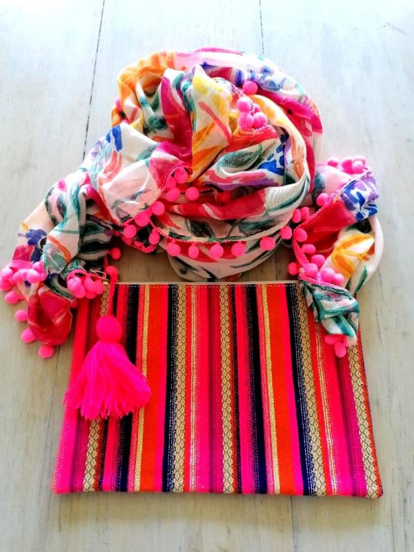 Orange,Pink & Blue Stripe Clutch