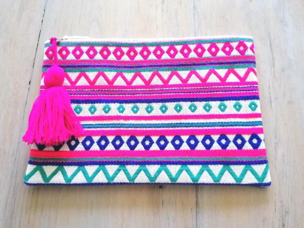 Blue, Pink & White Print Clutch Bag