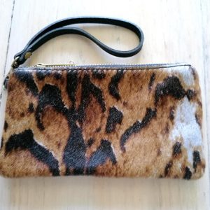 Brown Animal Print Clutch Bag