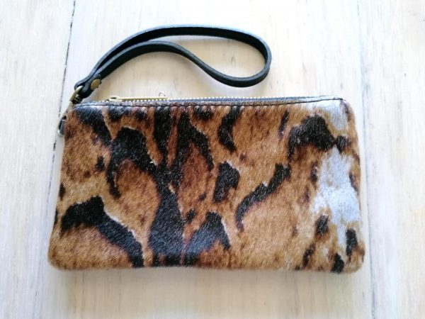 Brown Animal Print Clutch Bag