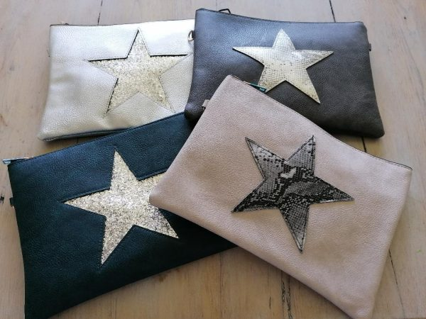 Light Grey Star Clutch Bag