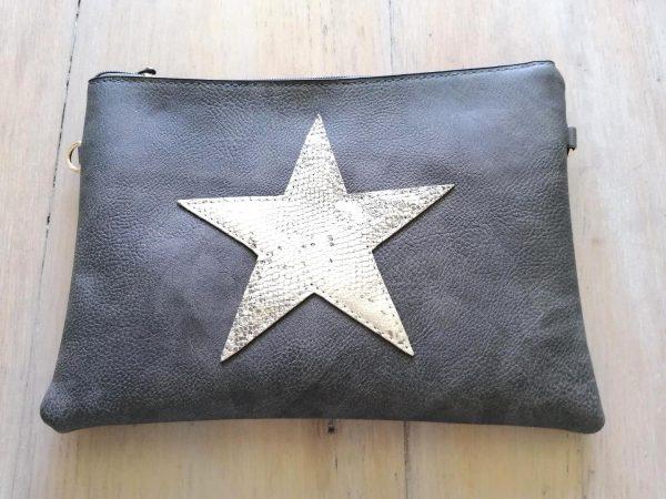 Dark Grey Star Clutch Bag