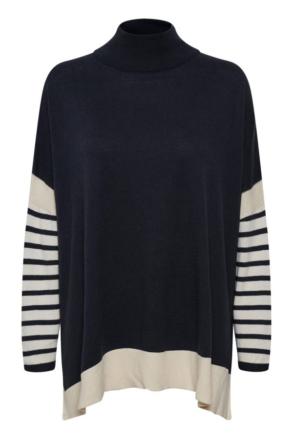 Part Two Navy & Cream Sweater