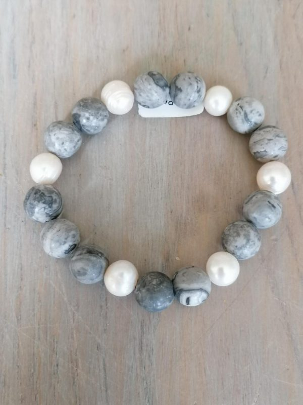 Grey Stone & Pearl Bracelet