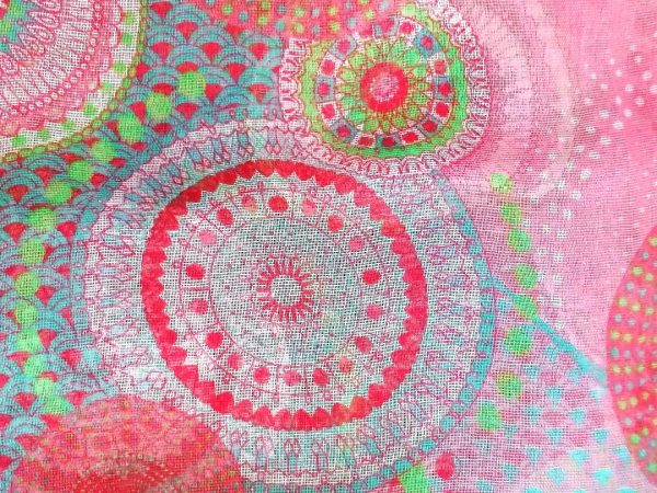 Pink Circle Print Scarf