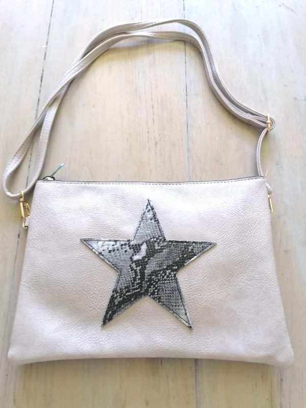 Light Grey Star Clutch Bag