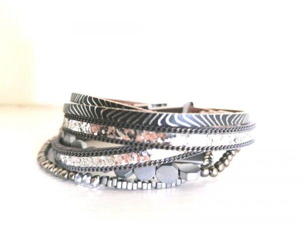 Grey Triple Strand Bracelet