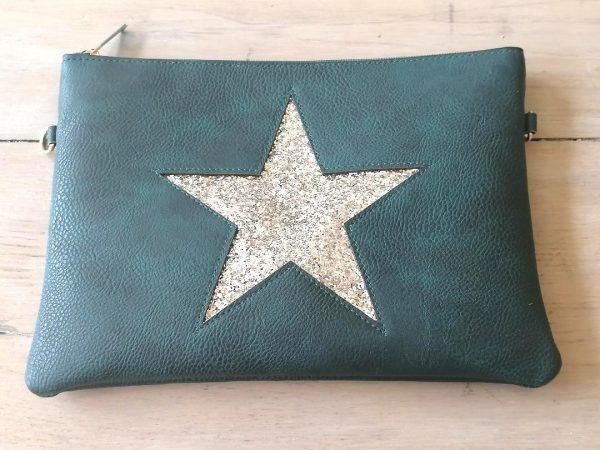 Teal Star Clutch Bag
