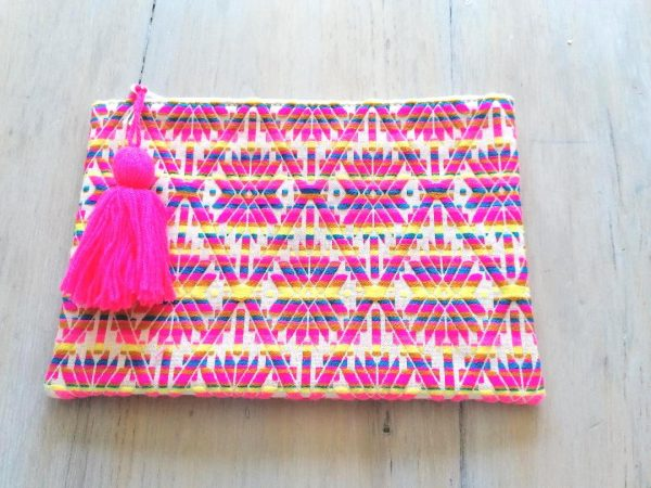 Pink, Yellow and Blue Print Clutch Bag