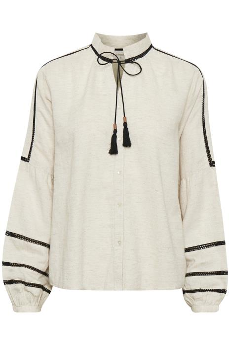 Cream Blouse With Black Tie Detail