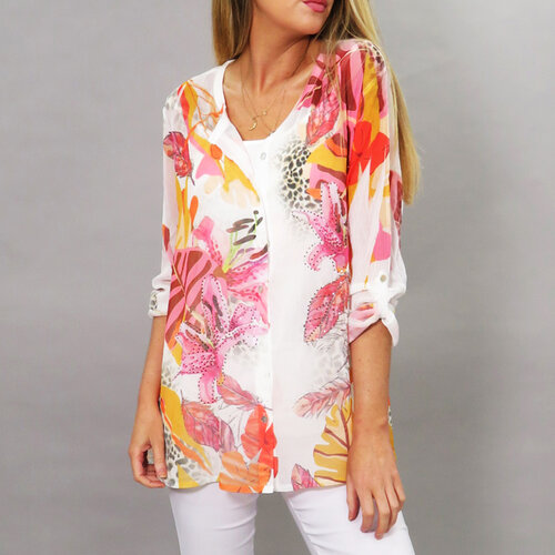 Pink Sequin Print Blouse