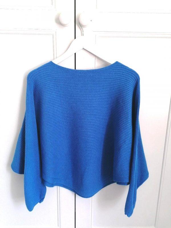 Blue Rib Batwing Style Sweater