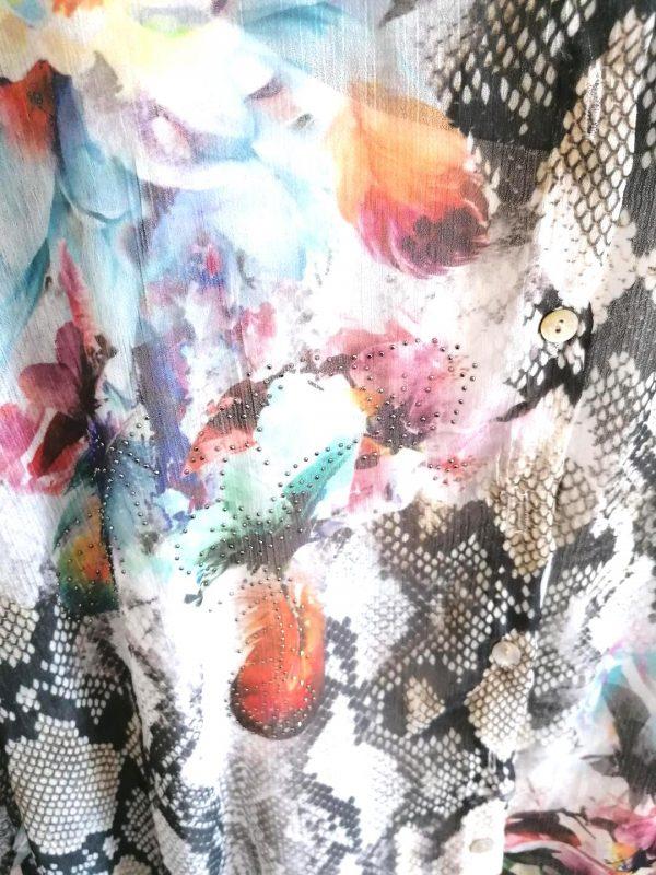 Blue Sequin Print Blouse