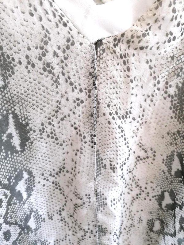 V Neckline Black & White Leopard Print Blouse