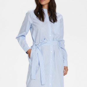 Part Two Blue & White Shirt Dress